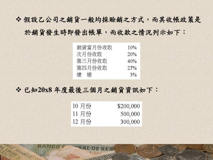 假設乙公司之銷貨一般均採賒銷之方式,而其收帳政策是