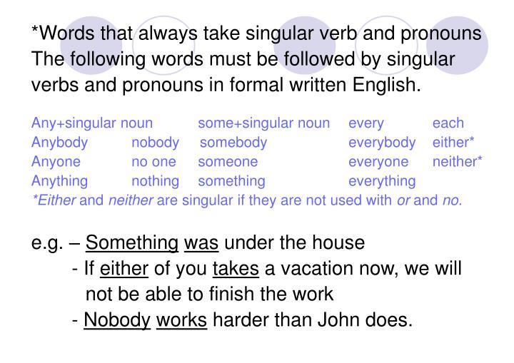 *Words that always take singular verb and pronouns