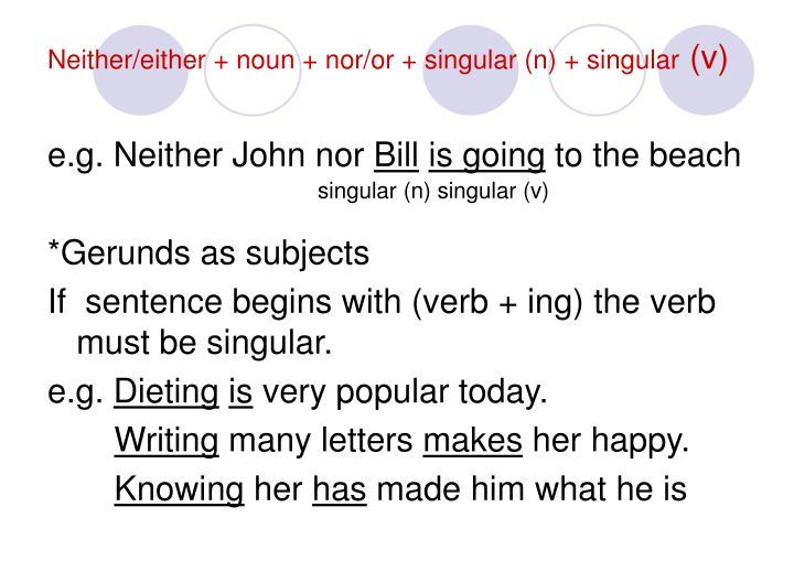 Neither/either + noun + nor/or + singular (n) + singular