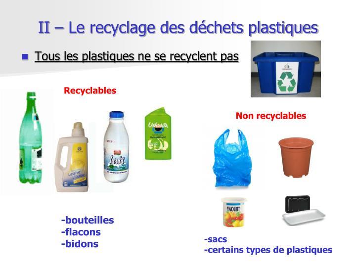 II – Le recyclage des déchets plastiques