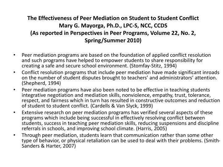 The Effectiveness of Peer Mediation on Student to Student Conflict