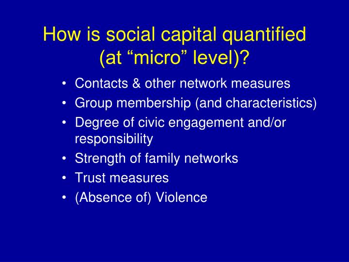 """How is social capital quantified (at """"micro"""" level)?"""