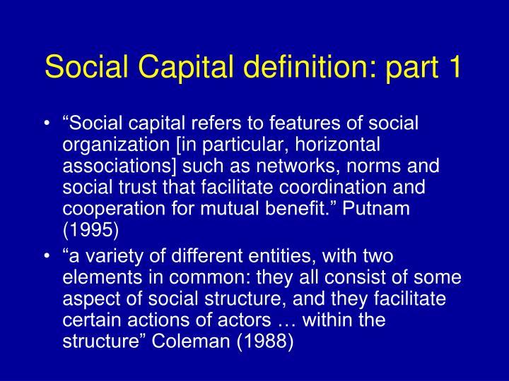 Social Capital definition: part 1
