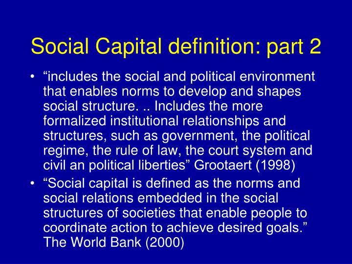 Social Capital definition: part 2