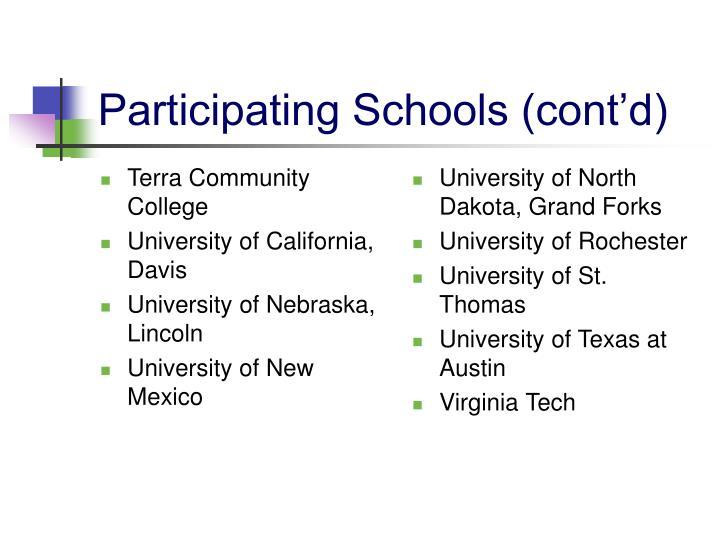Participating schools cont d