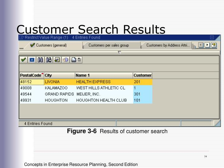 Customer Search Results