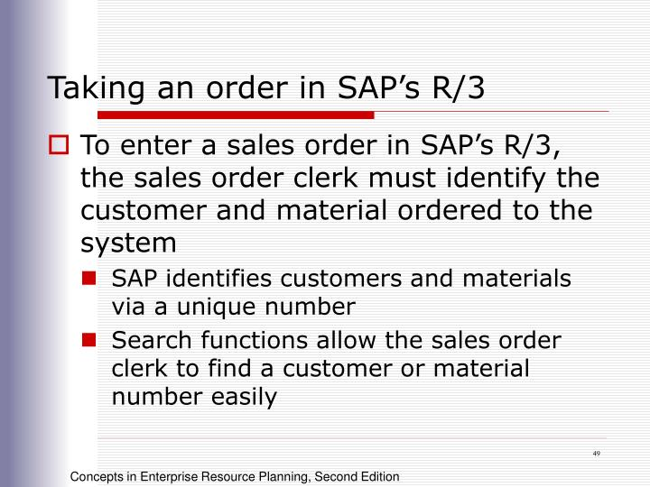 Taking an order in SAP's R/3