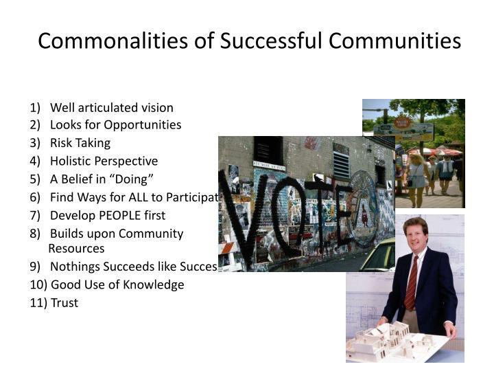 Commonalities of Successful Communities