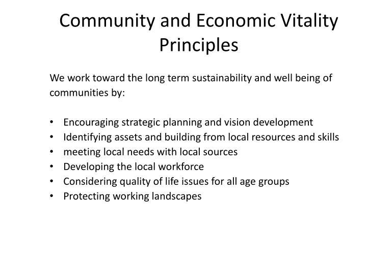 Community and Economic Vitality Principles