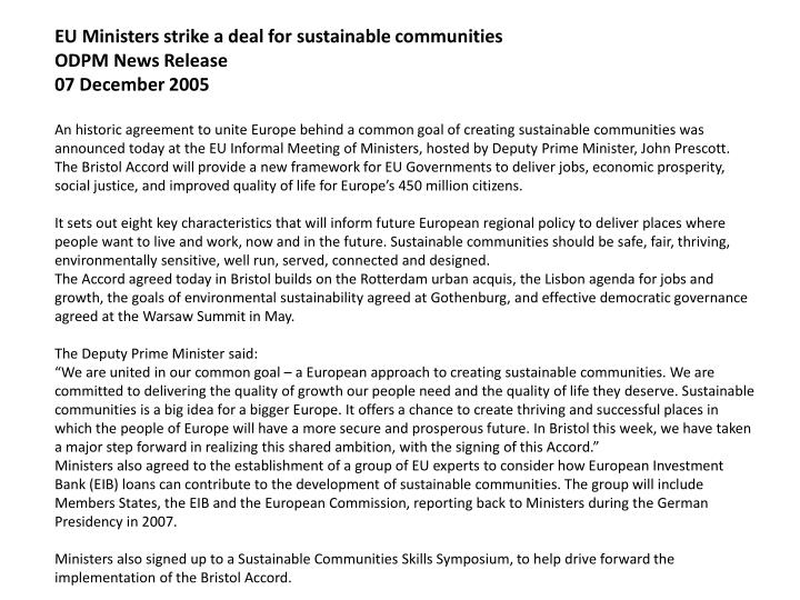 EU Ministers strike a deal for sustainable communities
