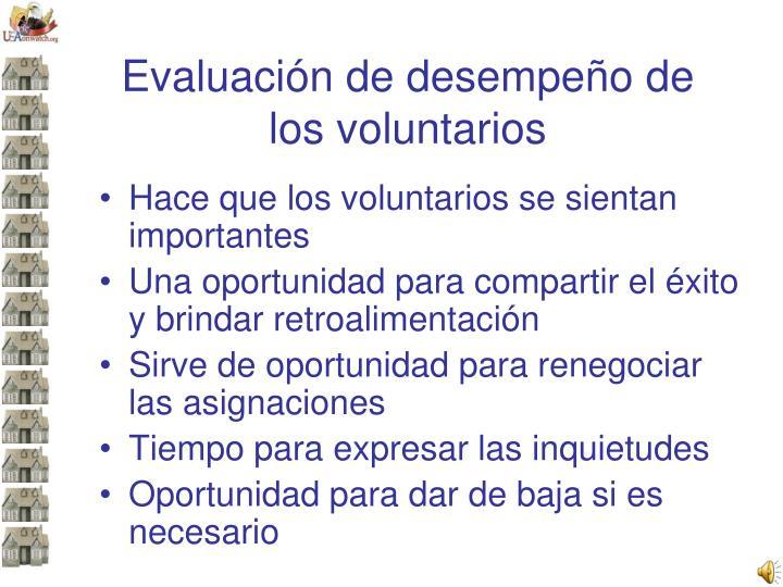 Evaluación de desempeño de los voluntarios