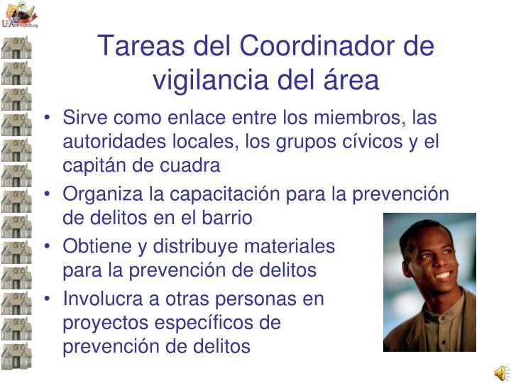 Tareas del Coordinador de vigilancia del área
