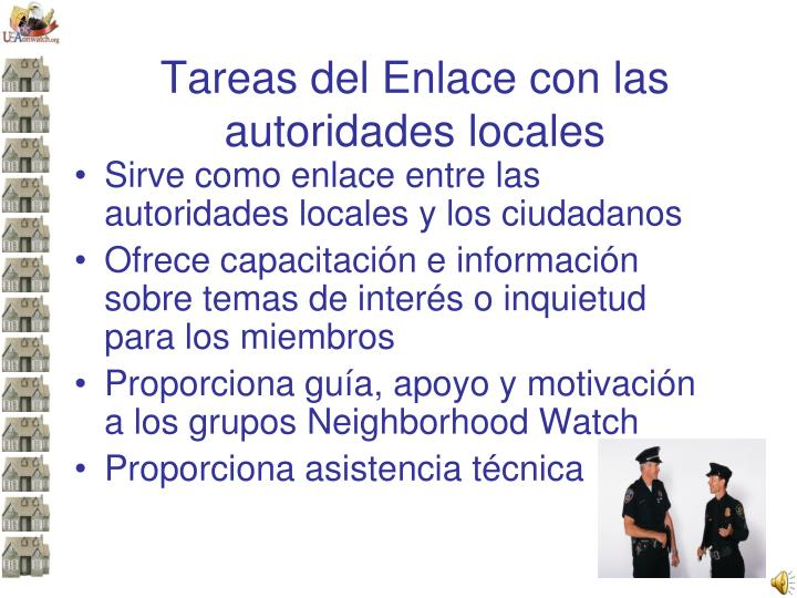 Tareas del Enlace con las autoridades locales