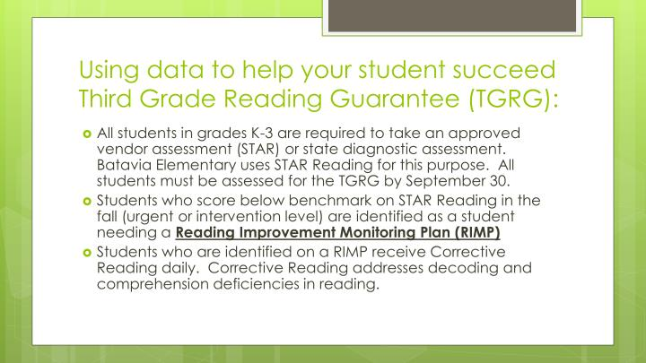 Using data to help your student succeed third grade reading guarantee tgrg