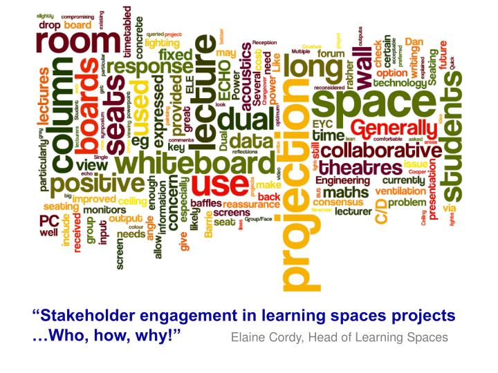 """Stakeholder engagement in learning spaces projects    …Who, how, why!"""