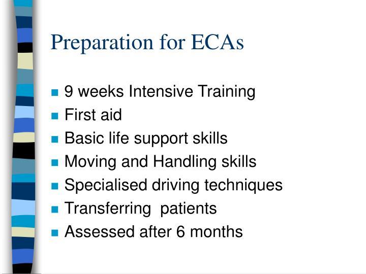 Preparation for ECAs