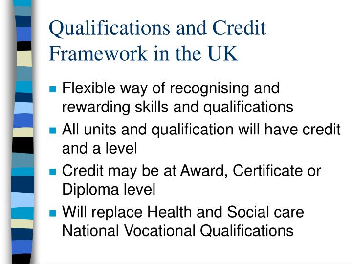 Qualifications and credit framework in the uk
