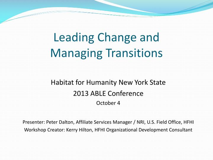 leading change and managing transitions n.