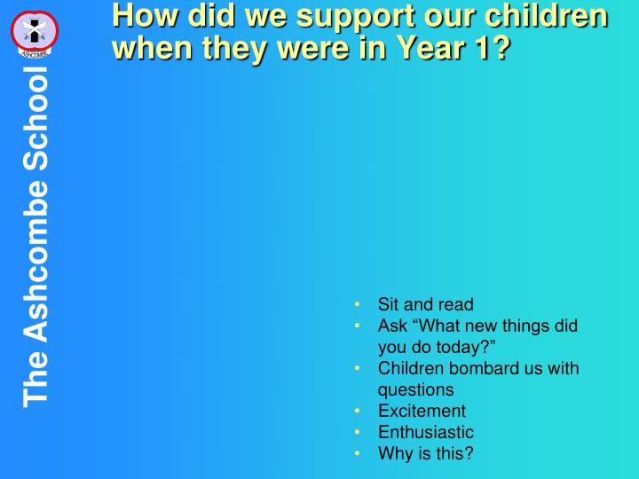 How did we support our children when they were in Year 1?