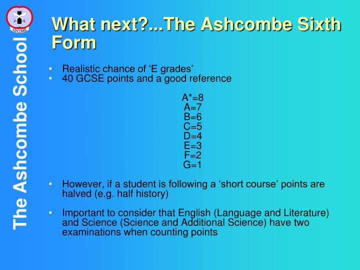 What next?...The Ashcombe Sixth Form