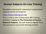 human subjects on line training