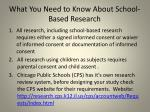 what you need to know about school based research