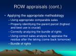 row appraisals cont