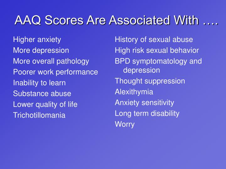 AAQ Scores Are Associated With ….