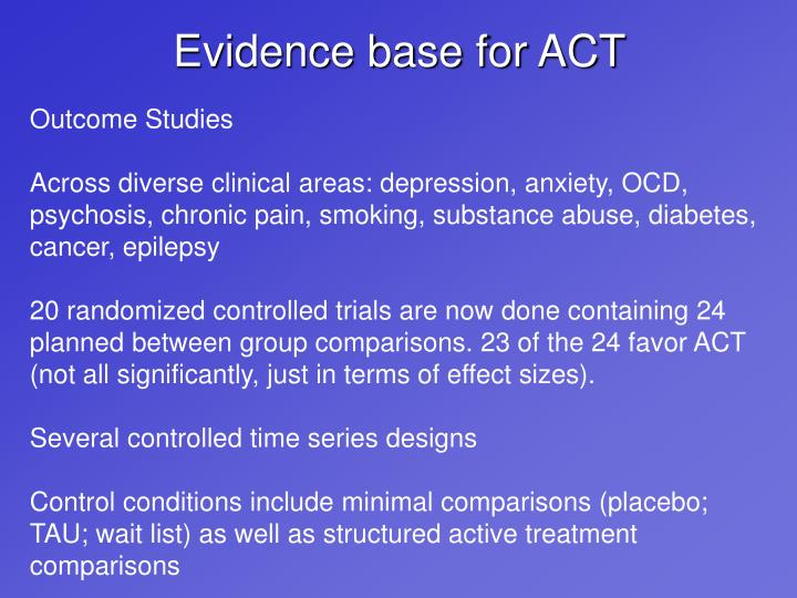 Evidence base for ACT