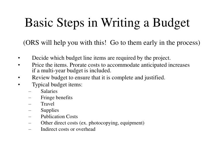 Basic Steps in Writing a Budget