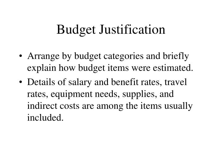 Budget Justification