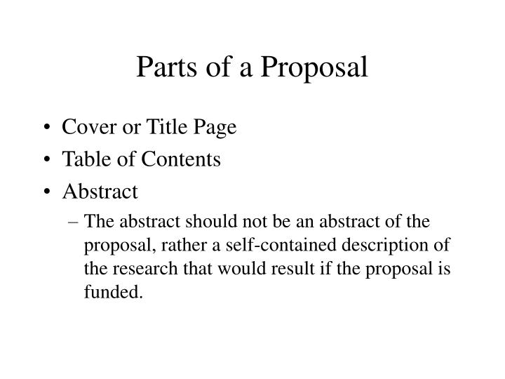 Parts of a Proposal