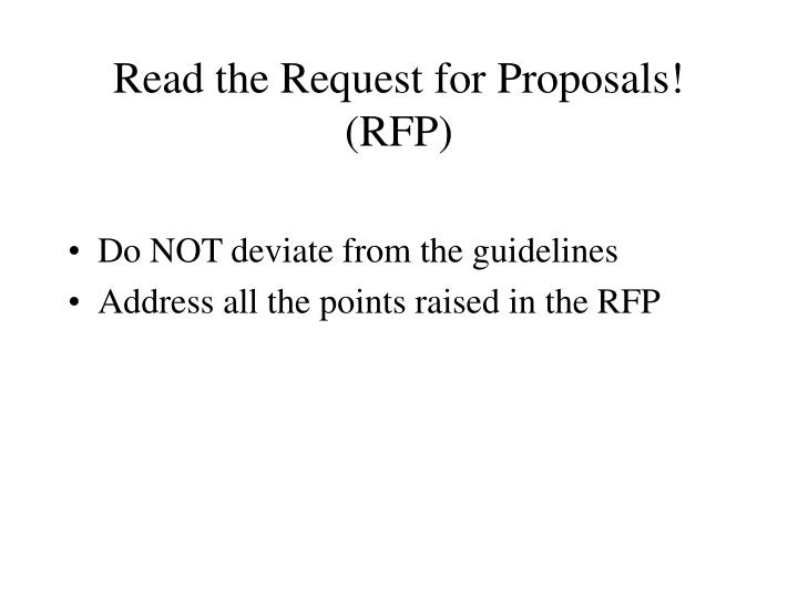 Read the Request for Proposals! (RFP)