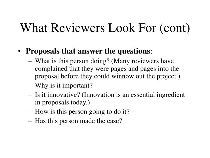 What Reviewers Look For (cont)
