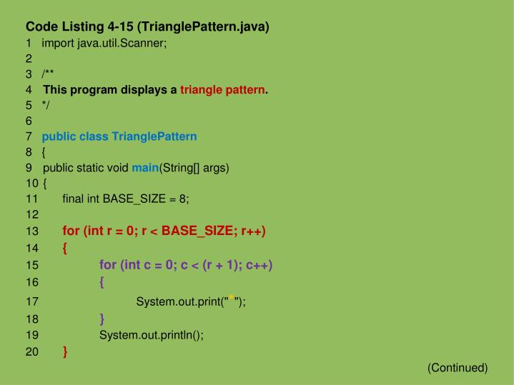 Code Listing 4-15 (TrianglePattern.java)