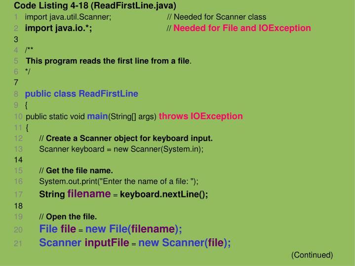 Code Listing 4-18 (ReadFirstLine.java)
