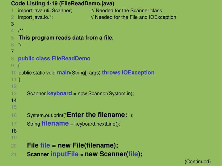Code Listing 4-19 (FileReadDemo.java)