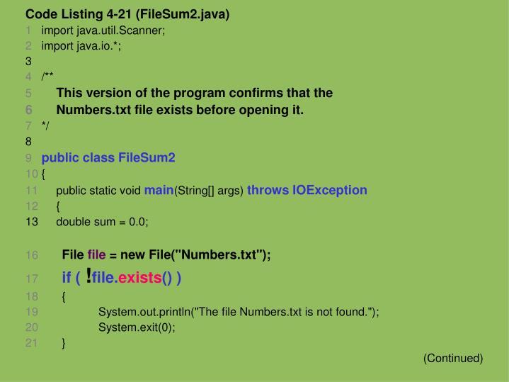 Code Listing 4-21 (FileSum2.java)