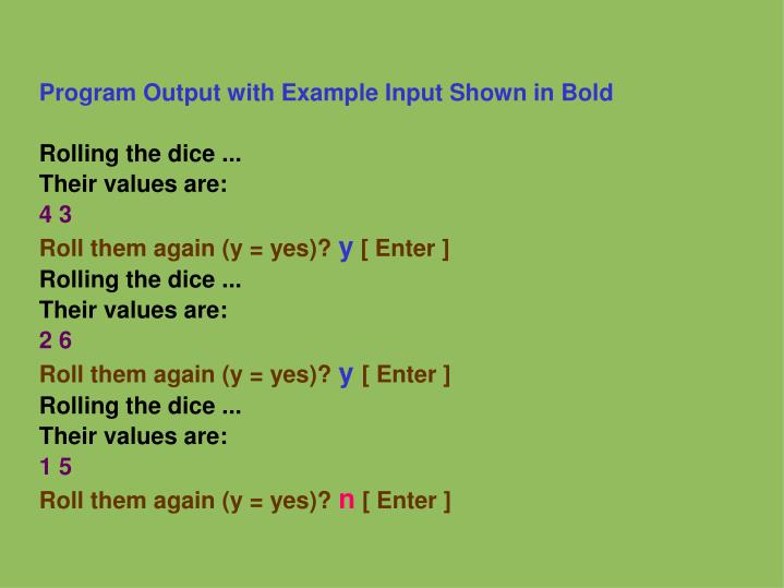 Program Output with Example Input Shown in Bold