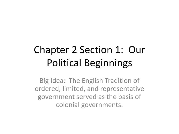 "Chapter 2 – Section 1 ""Our Political Beginnings"""