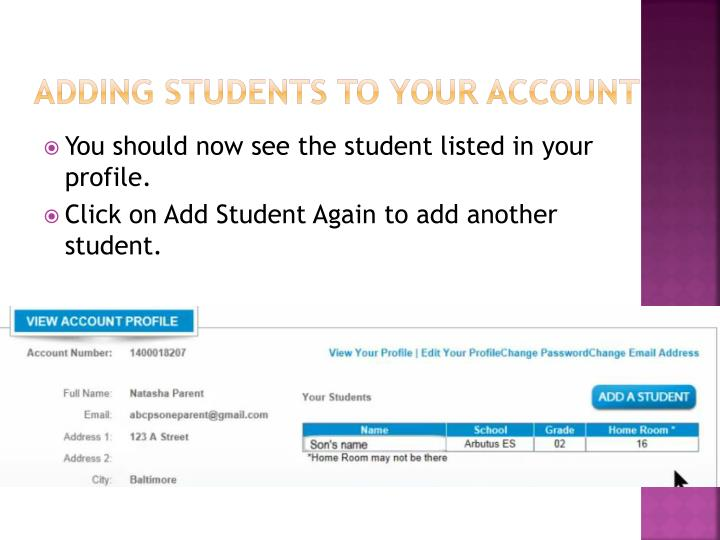 Adding Students to Your Account