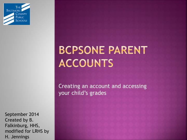 Bcpsone parent accounts
