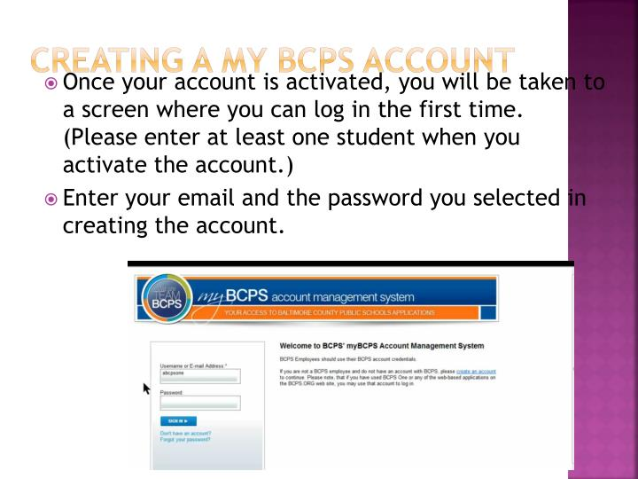 Creating a My BCPS Account