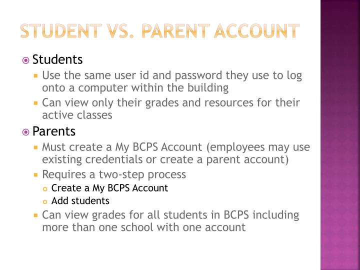 Student vs parent account