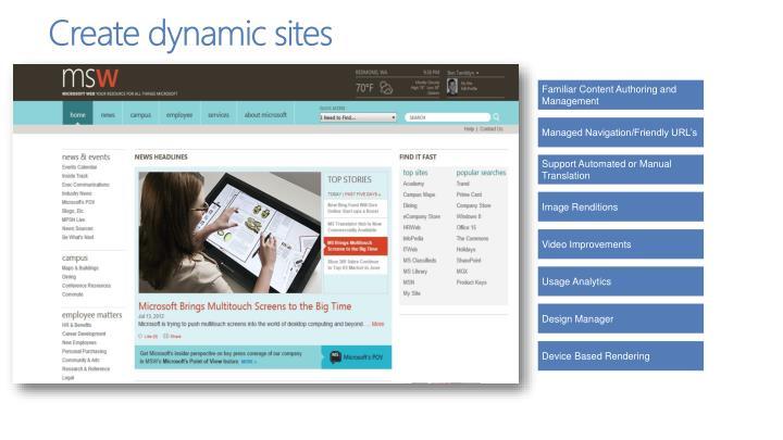 Create dynamic sites