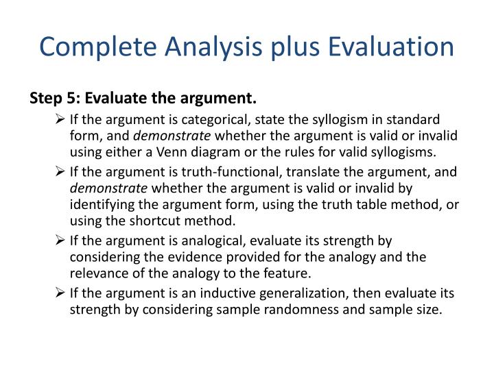 Complete Analysis plus Evaluation