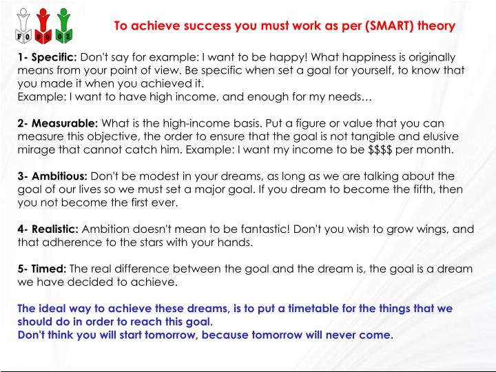 To achieve success you must work as per (SMART) theory
