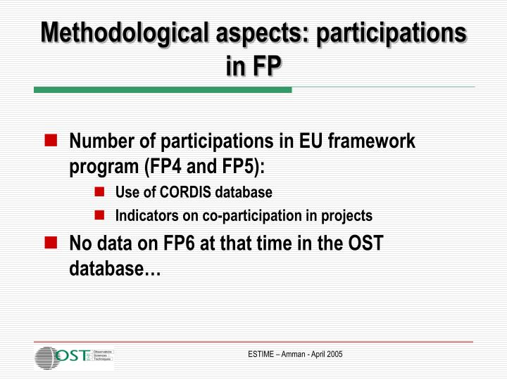 Methodological aspects: participations in FP