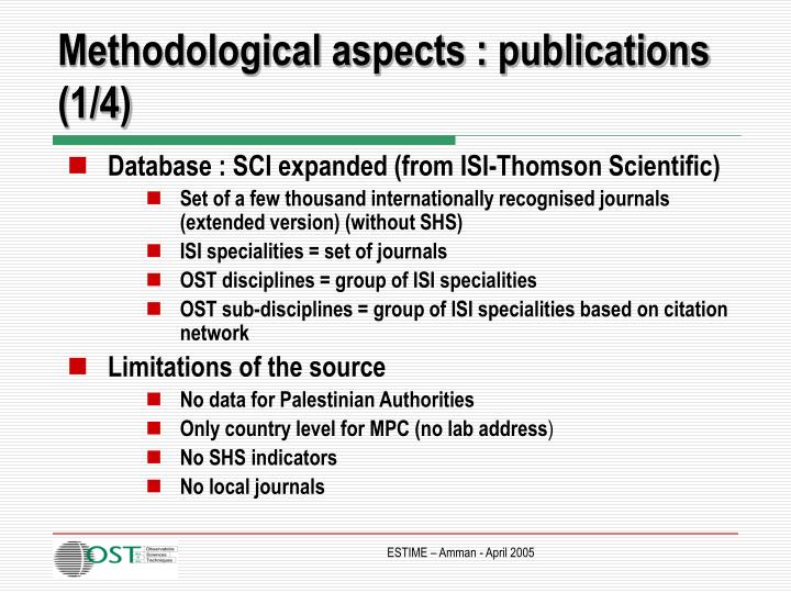 Methodological aspects : publications (1/4)