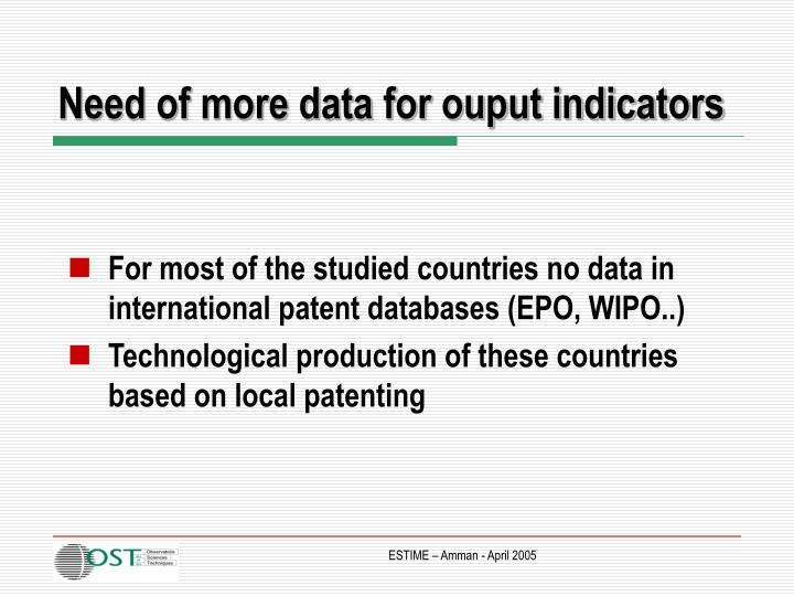 Need of more data for ouput indicators